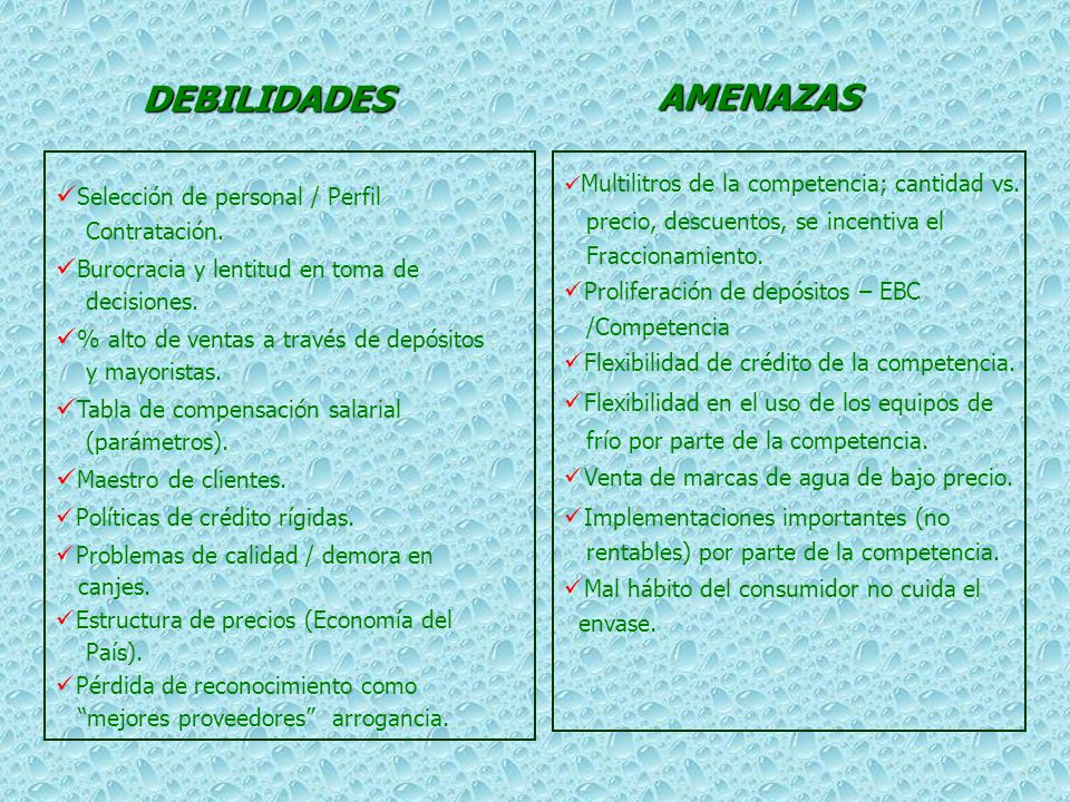 DEBILIDADES AMENAZAS Selección de personal / Perfil