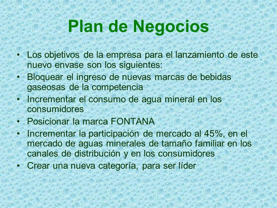 Plan de Negocios Los objetivos de la empresa para el lanzamiento de este nuevo envase son los siguientes: