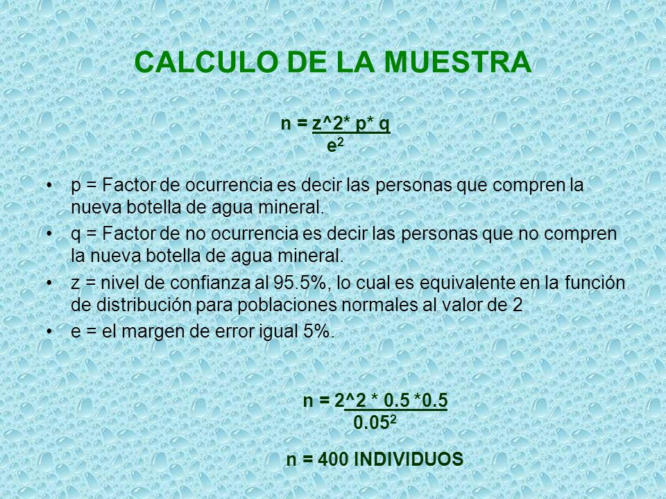 CALCULO DE LA MUESTRA n = z^2* p* q e2
