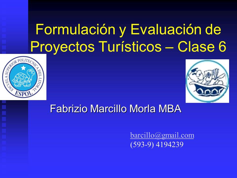 Formulación y Evaluación de Proyectos Turísticos – Clase 6