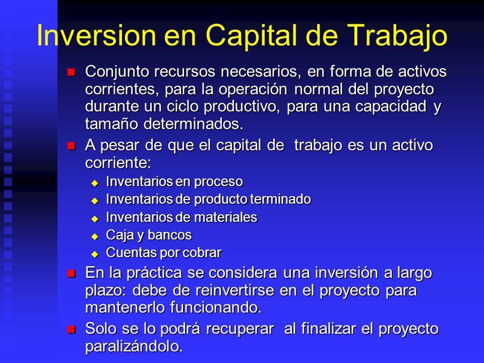 Inversion en Capital de Trabajo