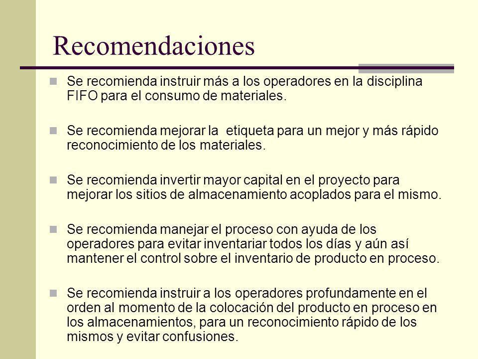 Recomendaciones Se recomienda instruir más a los operadores en la disciplina FIFO para el consumo de materiales.