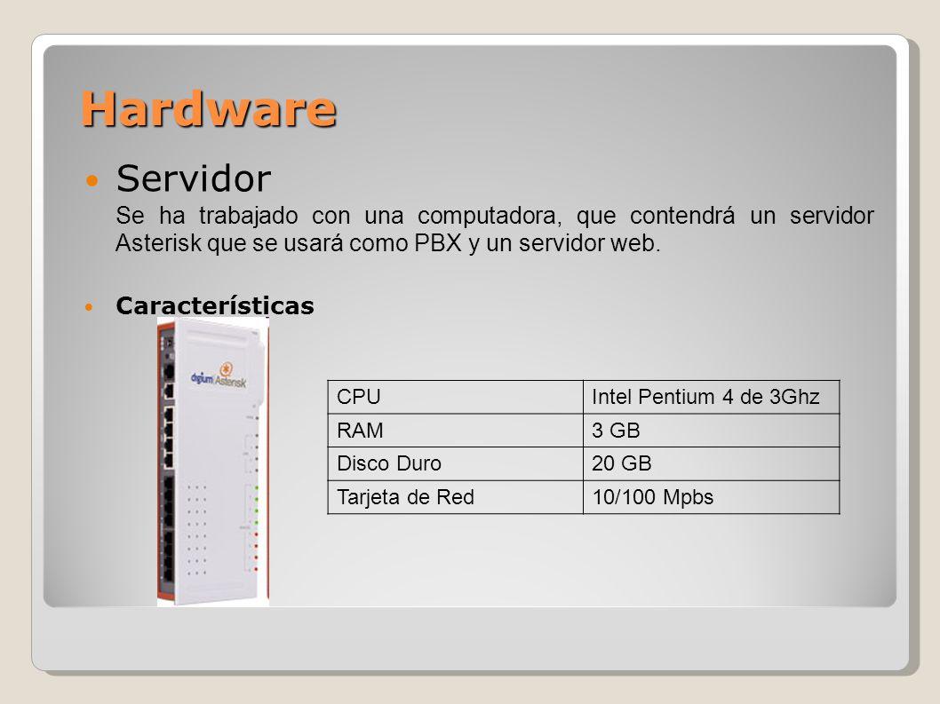 Hardware Servidor. Se ha trabajado con una computadora, que contendrá un servidor Asterisk que se usará como PBX y un servidor web.