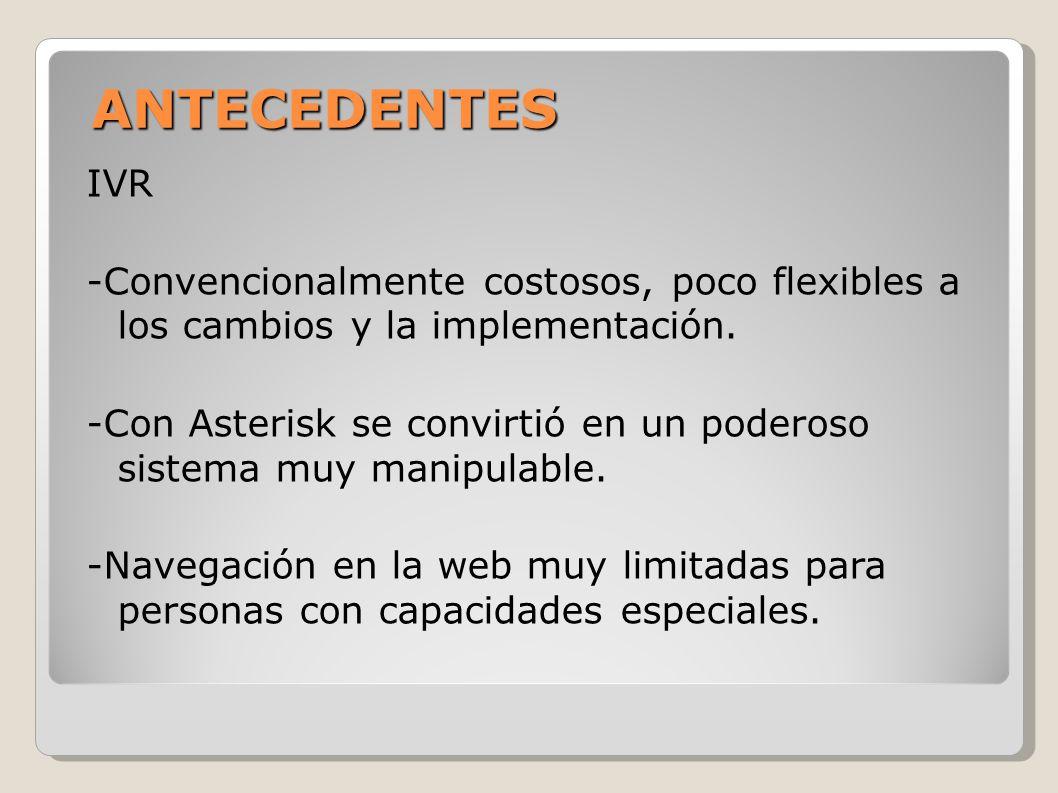 ANTECEDENTES IVR. -Convencionalmente costosos, poco flexibles a los cambios y la implementación.