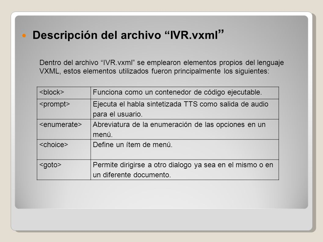 Descripción del archivo IVR.vxml