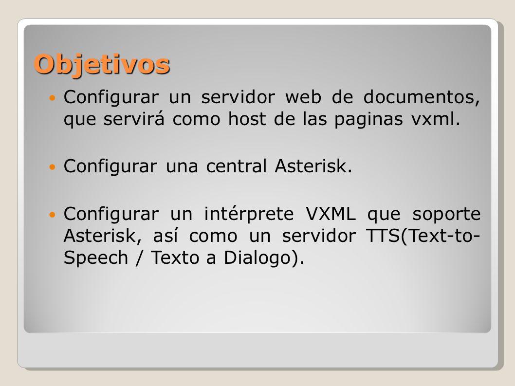 Objetivos Configurar un servidor web de documentos, que servirá como host de las paginas vxml. Configurar una central Asterisk.