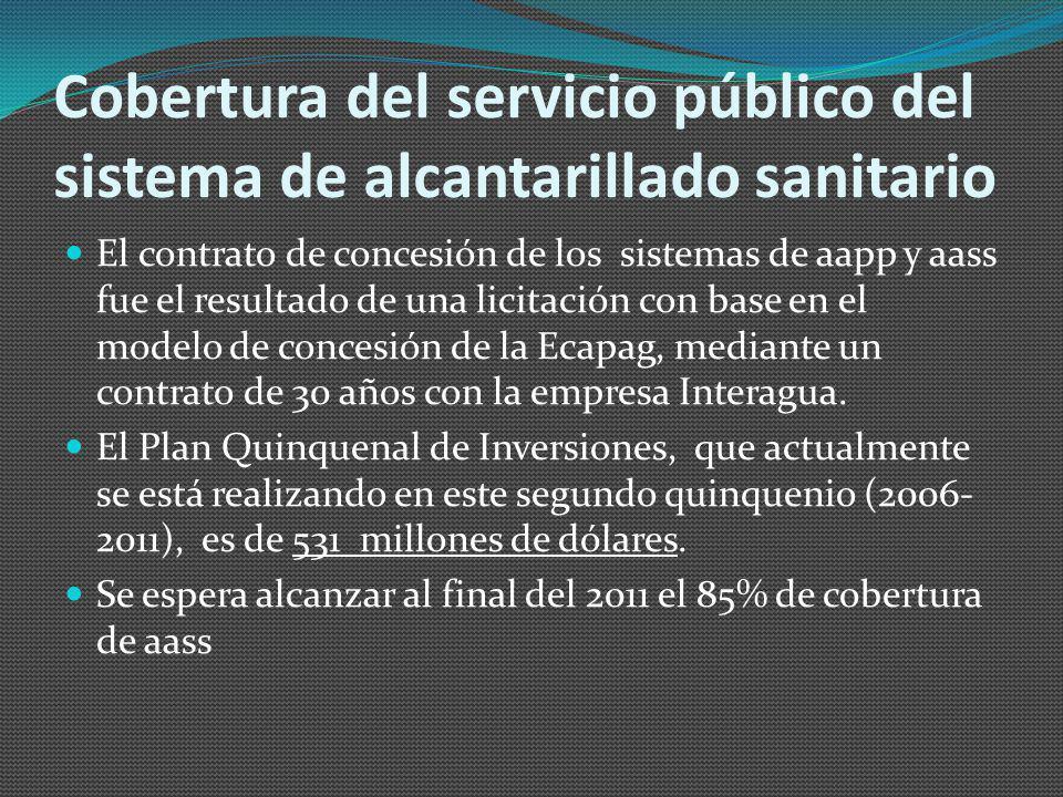 Cobertura del servicio público del sistema de alcantarillado sanitario