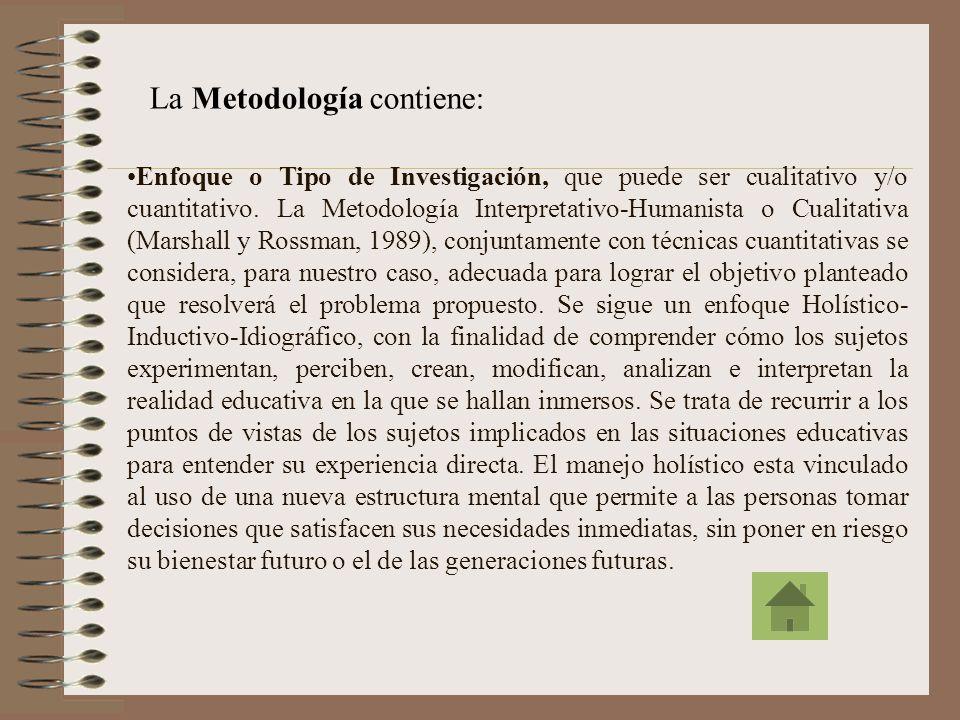 La Metodología contiene: