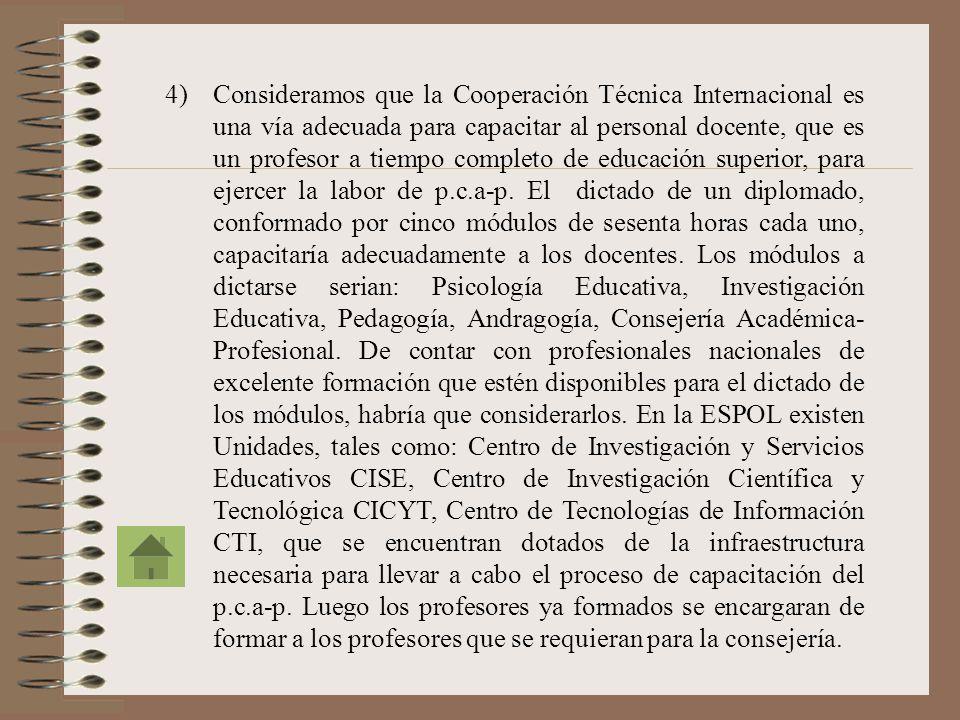 Consideramos que la Cooperación Técnica Internacional es una vía adecuada para capacitar al personal docente, que es un profesor a tiempo completo de educación superior, para ejercer la labor de p.c.a-p.