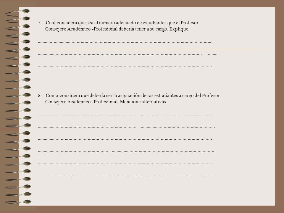 7. Cuál considera que sea el número adecuado de estudiantes que el Profesor. Consejero Académico. -