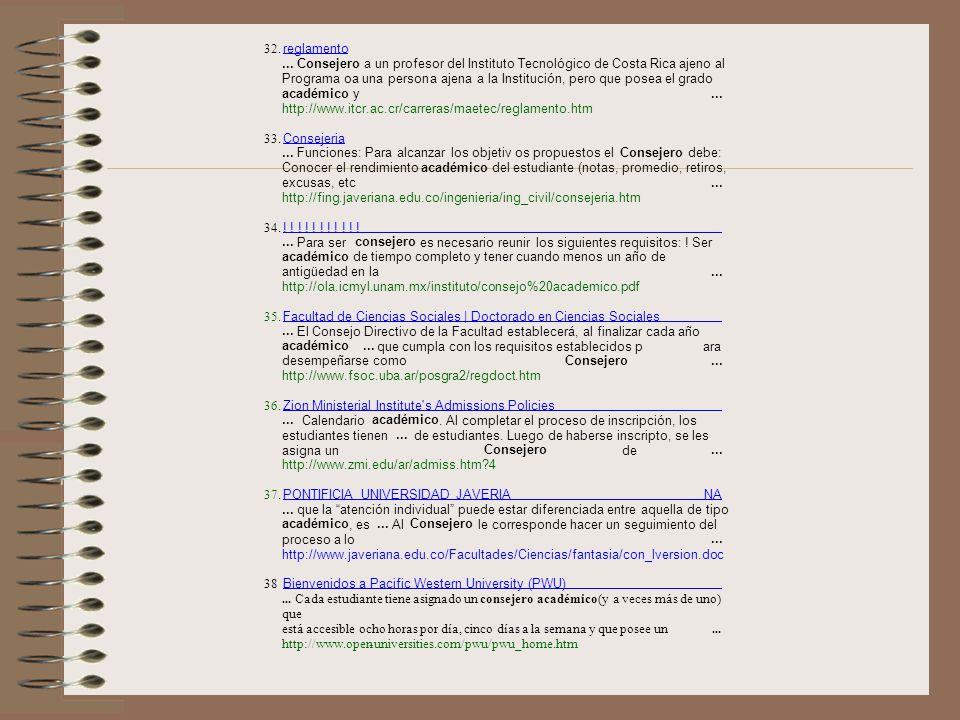 32. reglamento. ... Consejero. a un profesor del Instituto Tecnológico de Costa Rica ajeno al. Programa oa una person.