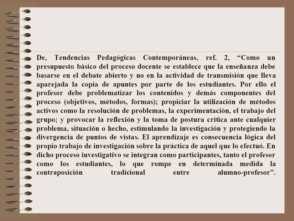 De, Tendencias Pedagógicas Contemporáneas, ref