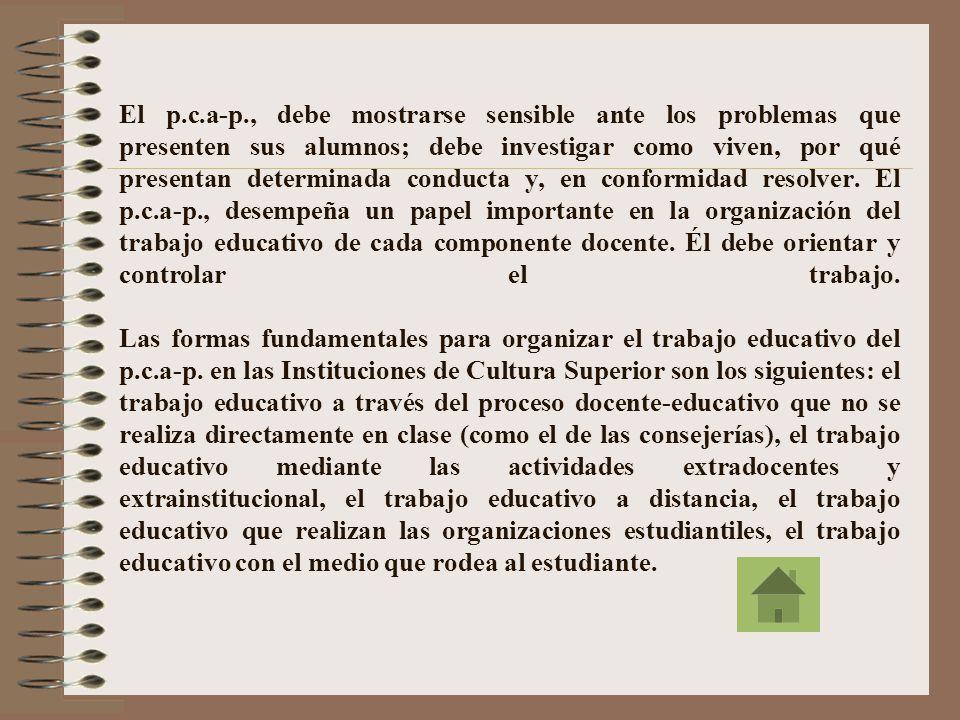 El p.c.a-p., debe mostrarse sensible ante los problemas que presenten sus alumnos; debe investigar como viven, por qué presentan determinada conducta y, en conformidad resolver.