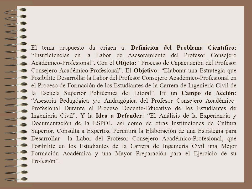 El tema propuesto da origen a: Definición del Problema Científico: Insuficiencias en la Labor de Asesoramiento del Profesor Consejero Académico-Profesional .