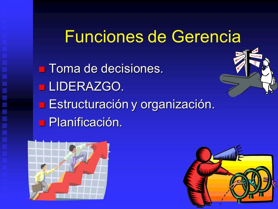 Funciones de Gerencia Toma de decisiones. LIDERAZGO.