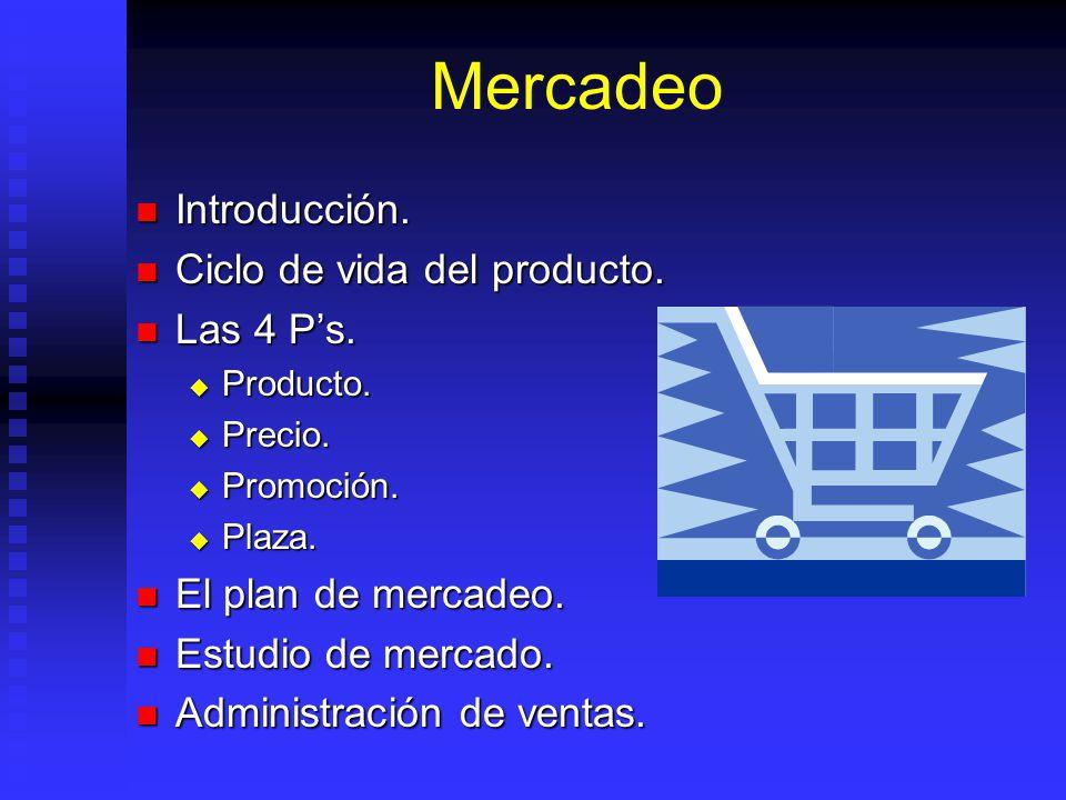 Mercadeo Introducción. Ciclo de vida del producto. Las 4 P's.