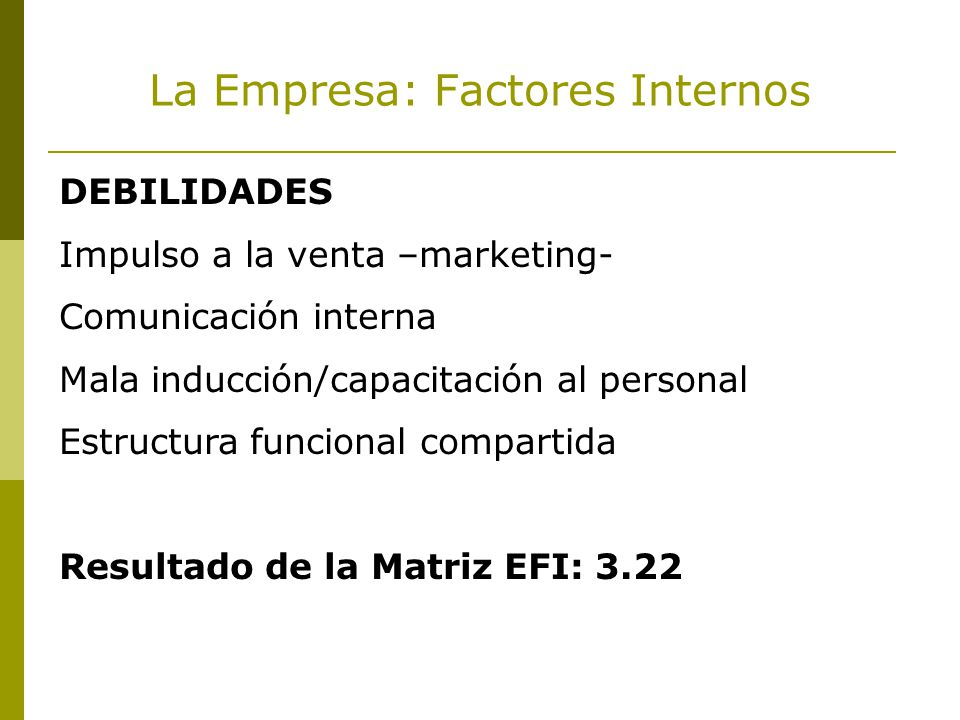 La Empresa: Factores Internos