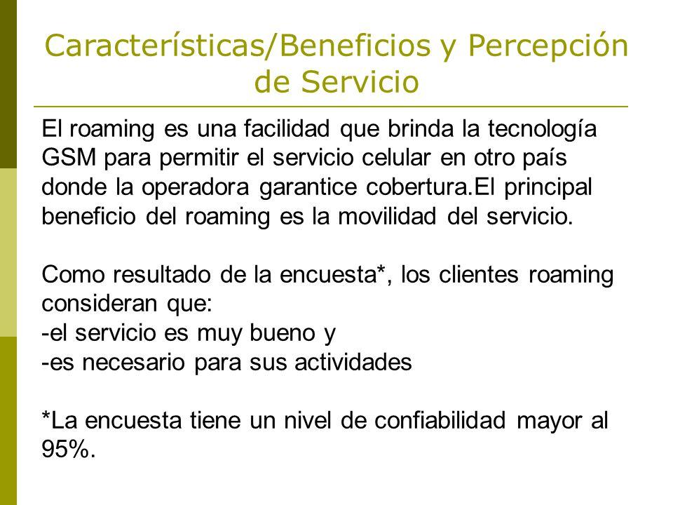Características/Beneficios y Percepción de Servicio