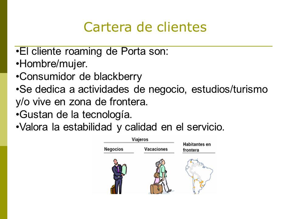 Cartera de clientes El cliente roaming de Porta son: Hombre/mujer.