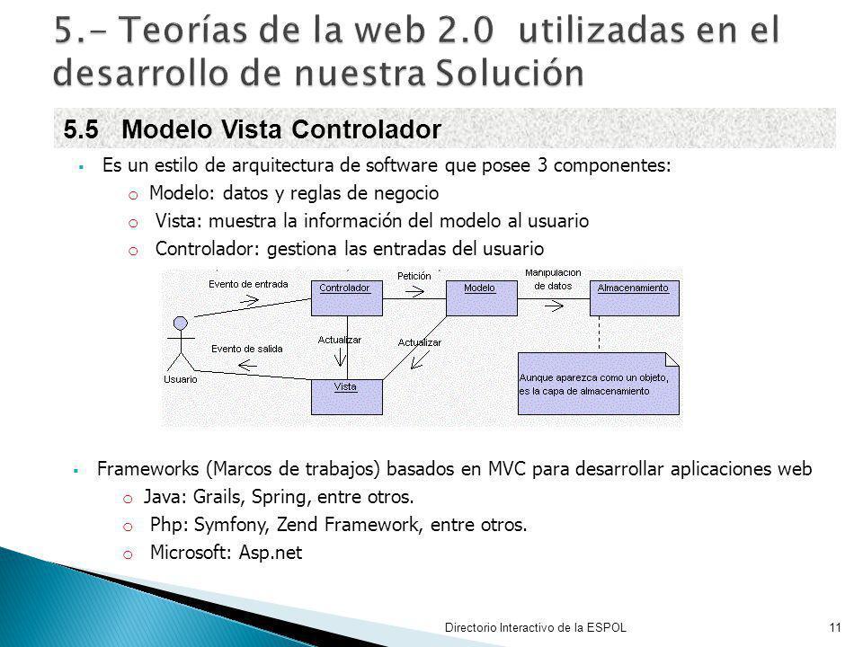 5.- Teorías de la web 2.0 utilizadas en el desarrollo de nuestra Solución