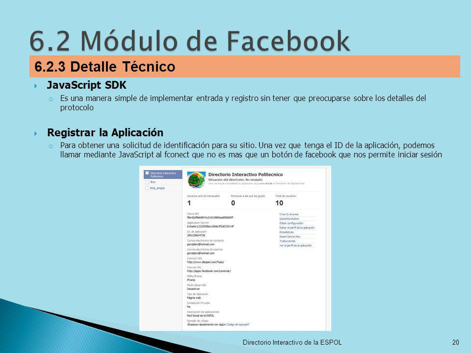 6.2 Módulo de Facebook 6.2.3 Detalle Técnico JavaScript SDK