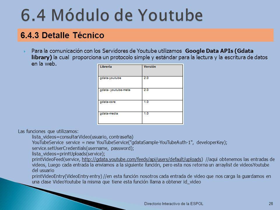 6.4 Módulo de Youtube 6.4.3 Detalle Técnico