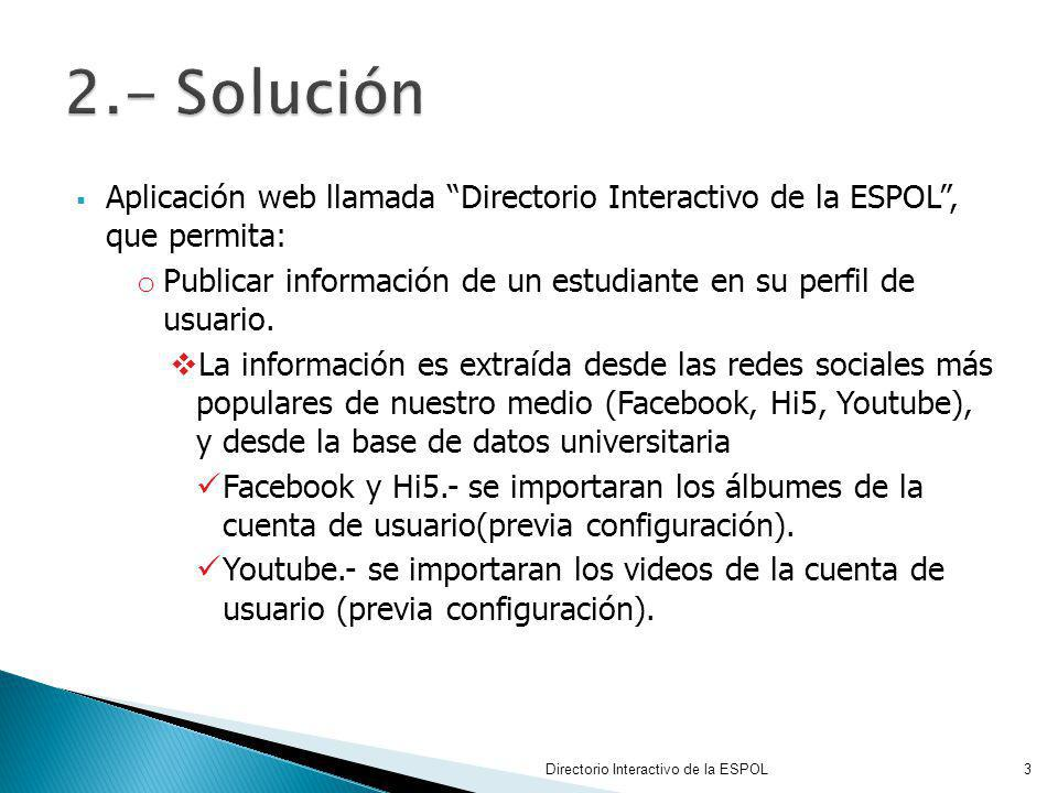 2.- Solución Aplicación web llamada Directorio Interactivo de la ESPOL , que permita: