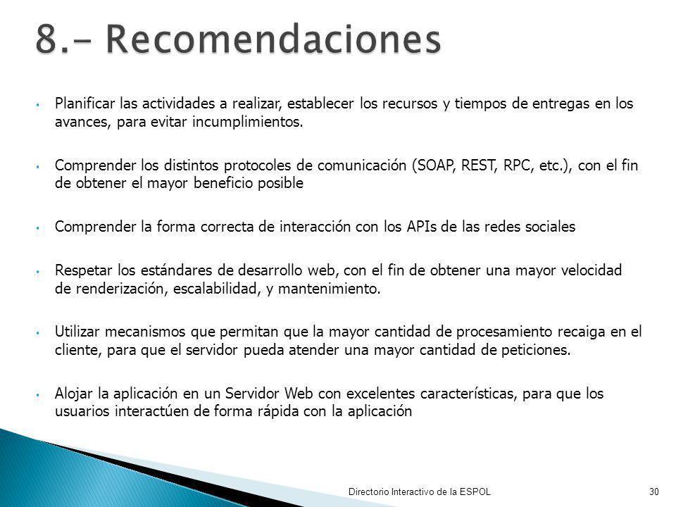 8.- Recomendaciones