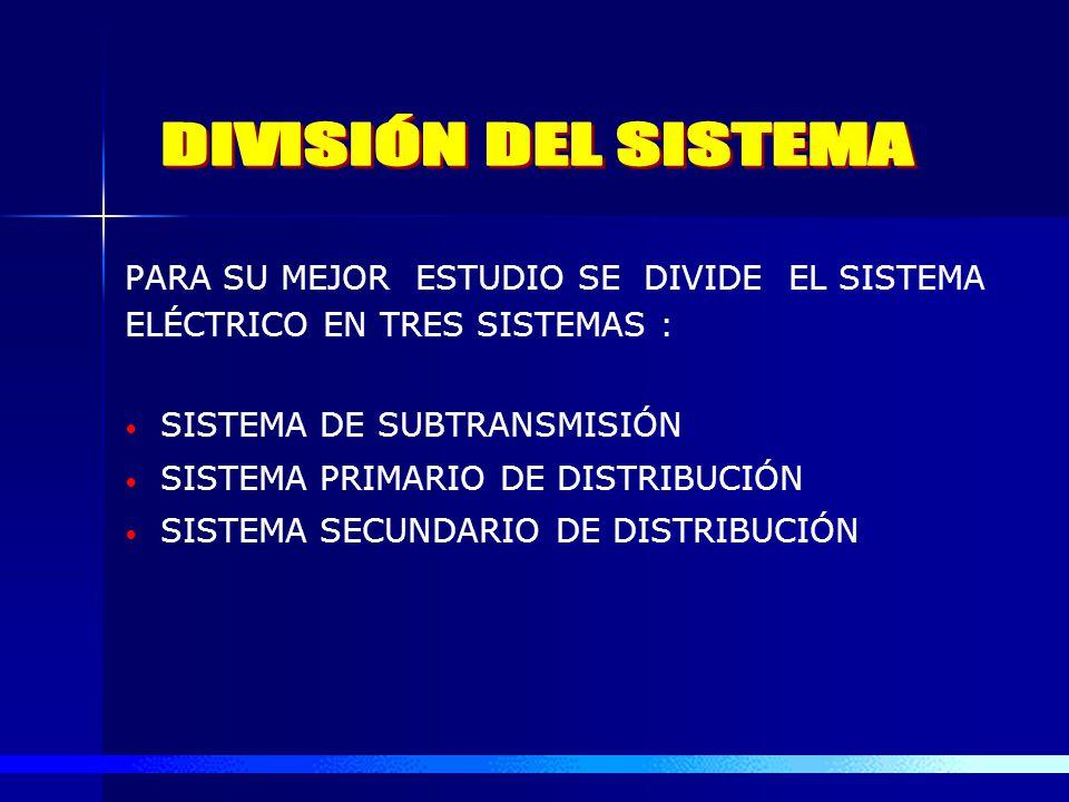DIVISIÓN DEL SISTEMA PARA SU MEJOR ESTUDIO SE DIVIDE EL SISTEMA ELÉCTRICO EN TRES SISTEMAS : SISTEMA DE SUBTRANSMISIÓN.