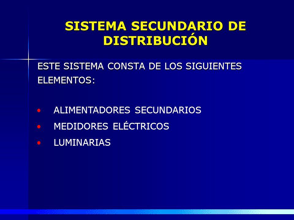 SISTEMA SECUNDARIO DE DISTRIBUCIÓN