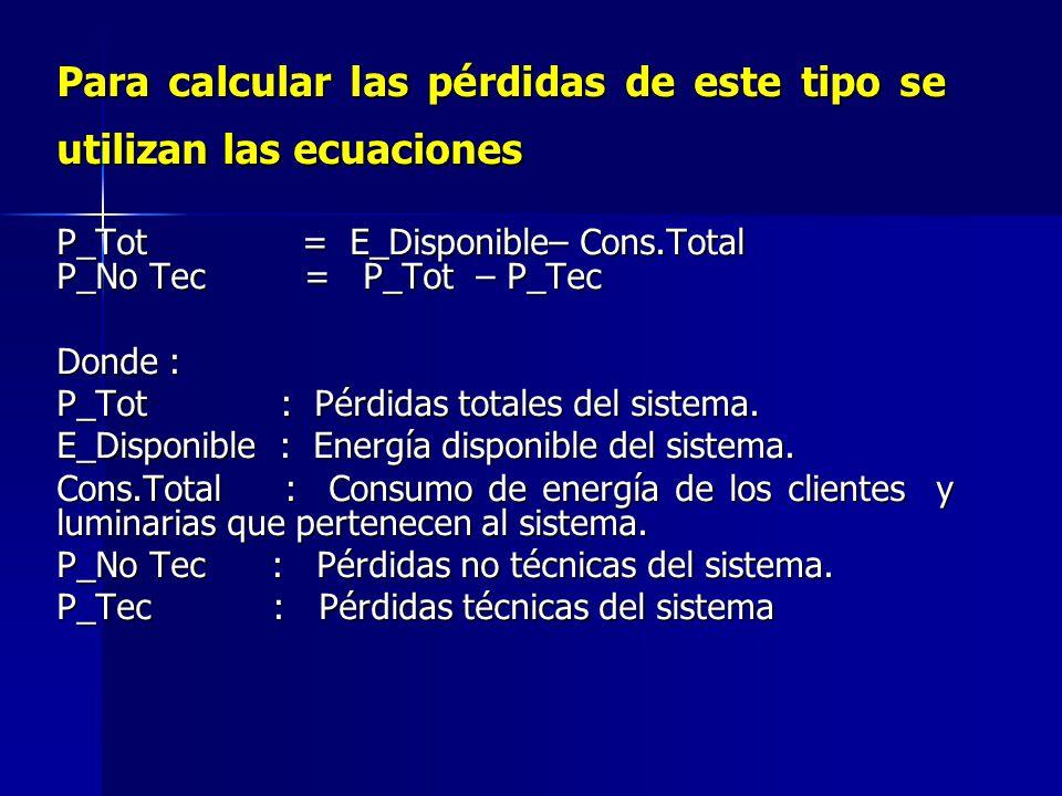 Para calcular las pérdidas de este tipo se utilizan las ecuaciones