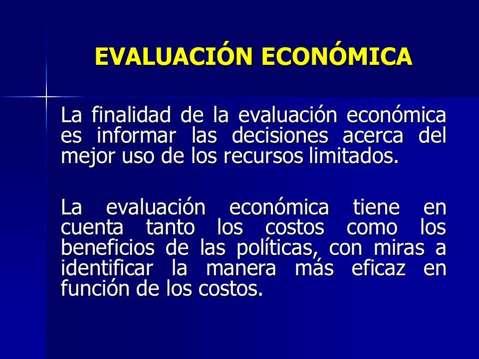 EVALUACIÓN ECONÓMICA La finalidad de la evaluación económica es informar las decisiones acerca del mejor uso de los recursos limitados.