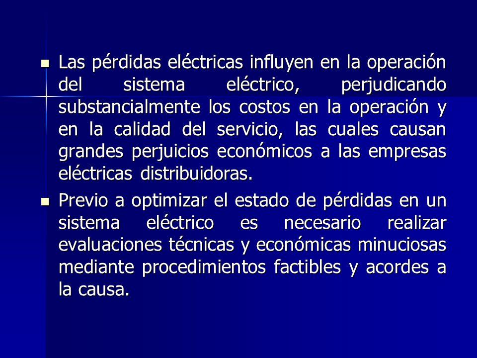 Las pérdidas eléctricas influyen en la operación del sistema eléctrico, perjudicando substancialmente los costos en la operación y en la calidad del servicio, las cuales causan grandes perjuicios económicos a las empresas eléctricas distribuidoras.