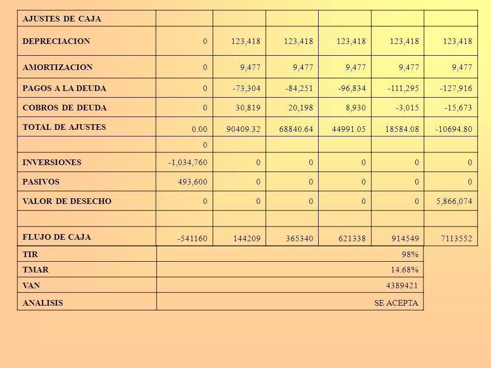 AJUSTES DE CAJA DEPRECIACION. 123,418. AMORTIZACION. 9,477. PAGOS A LA DEUDA. -73,304. -84,251.