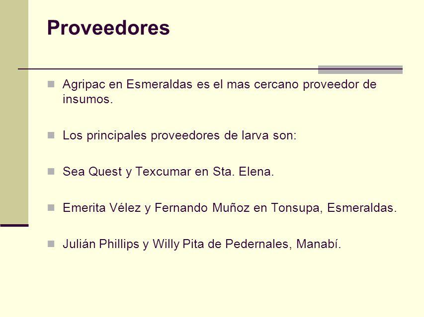Proveedores Agripac en Esmeraldas es el mas cercano proveedor de insumos. Los principales proveedores de larva son: