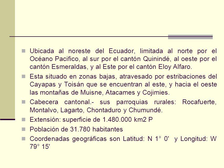 Ubicada al noreste del Ecuador, limitada al norte por el Océano Pacifico, al sur por el cantón Quinindé, al oeste por el cantón Esmeraldas, y al Este por el cantón Eloy Alfaro.