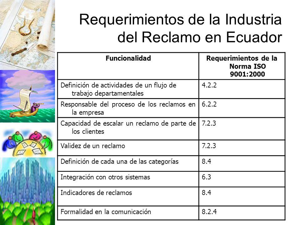 Requerimientos de la Industria del Reclamo en Ecuador