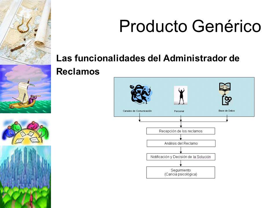 Producto Genérico Las funcionalidades del Administrador de Reclamos