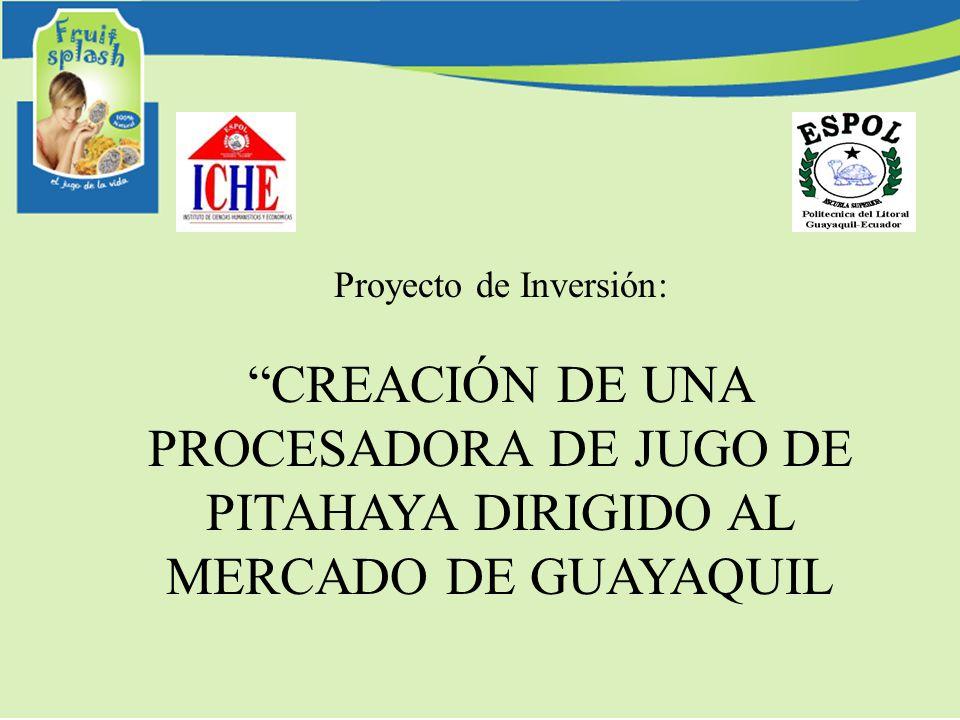 Proyecto de Inversión: CREACIÓN DE UNA PROCESADORA DE JUGO DE PITAHAYA DIRIGIDO AL MERCADO DE GUAYAQUIL