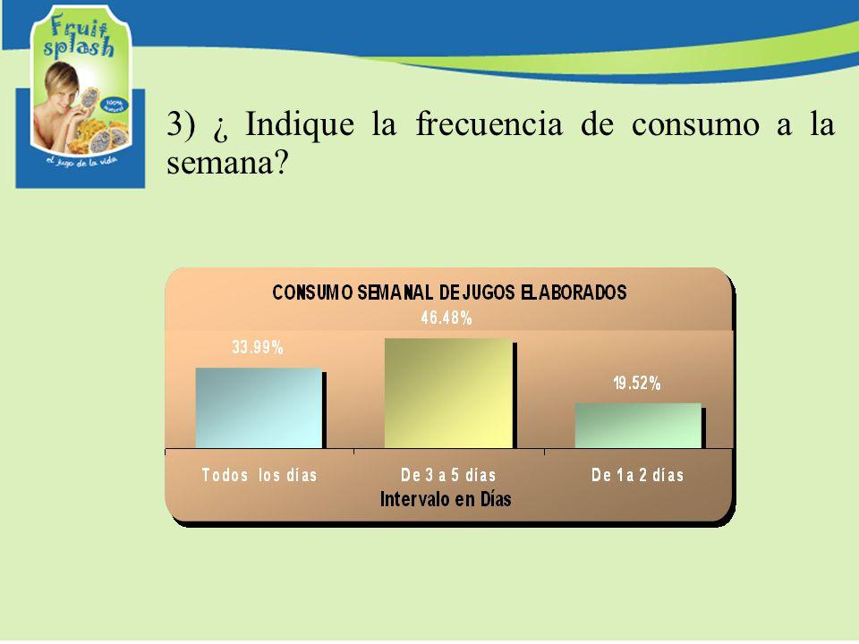 3) ¿ Indique la frecuencia de consumo a la semana