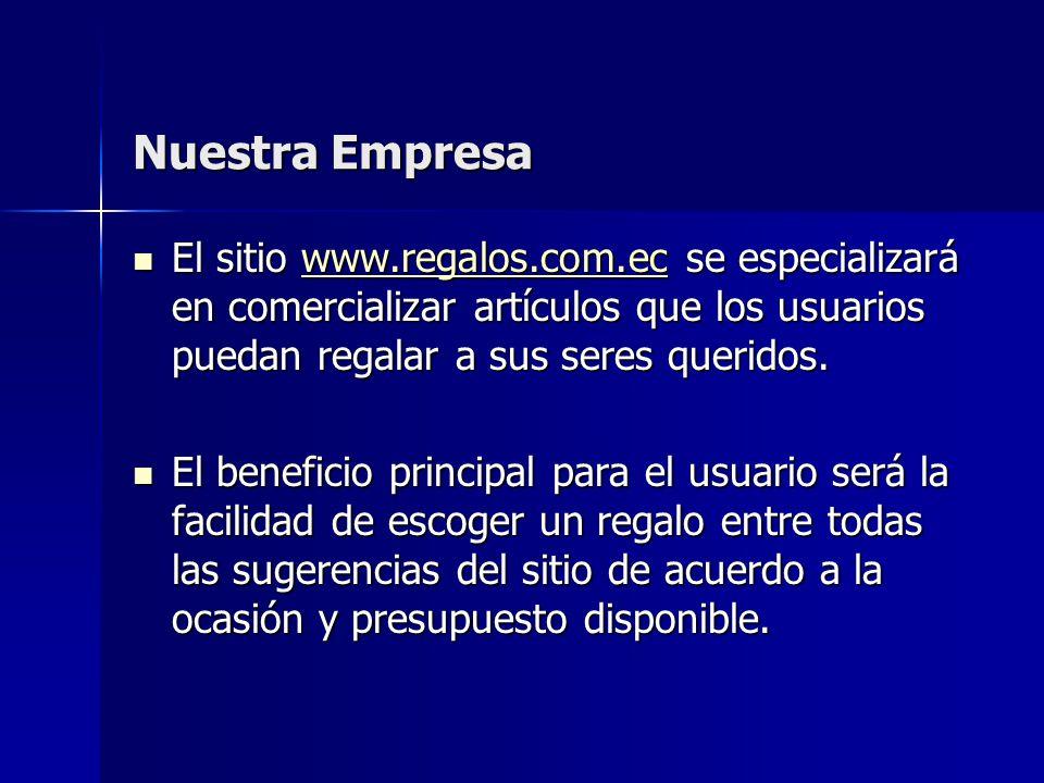 Nuestra Empresa El sitio www.regalos.com.ec se especializará en comercializar artículos que los usuarios puedan regalar a sus seres queridos.
