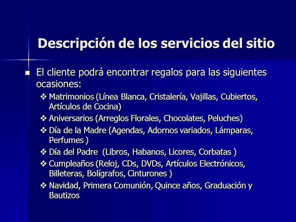 Descripción de los servicios del sitio