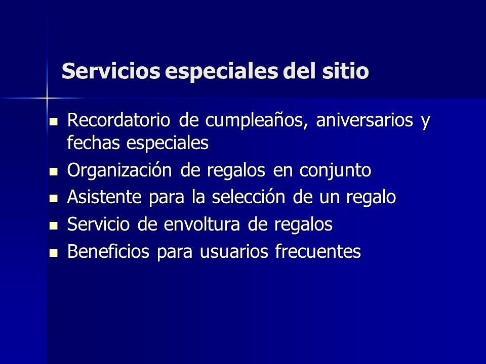 Servicios especiales del sitio