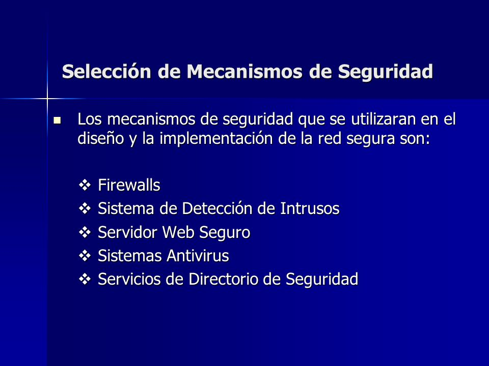 Selección de Mecanismos de Seguridad