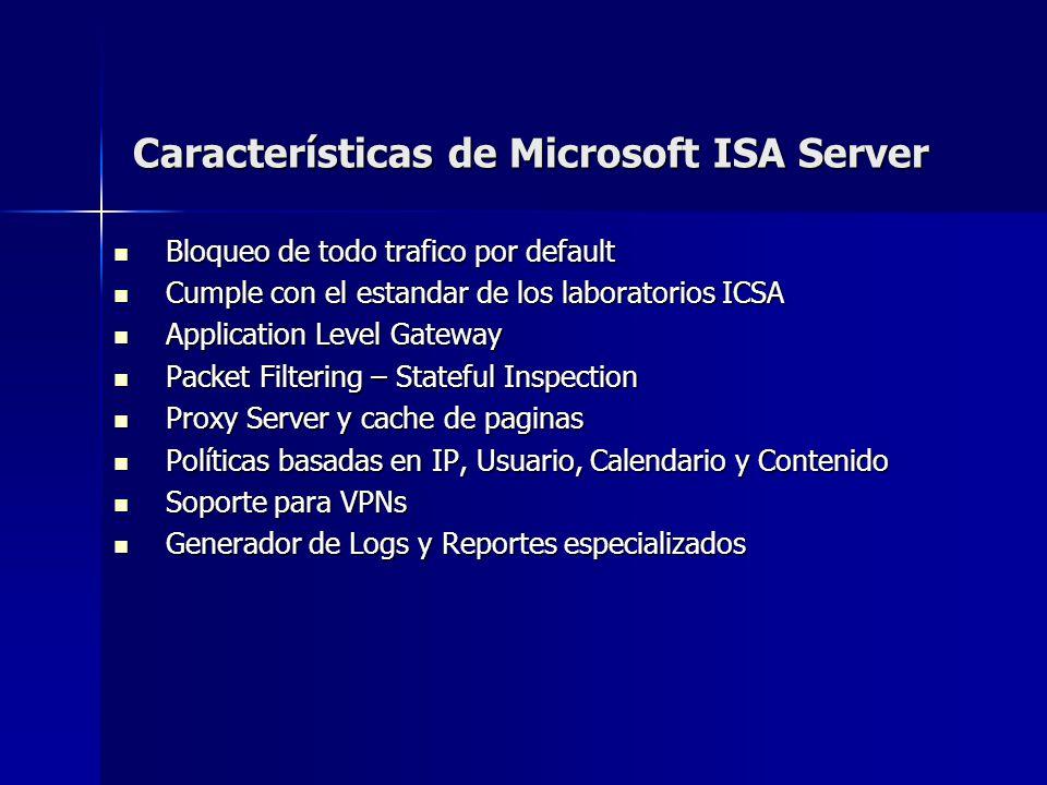 Características de Microsoft ISA Server