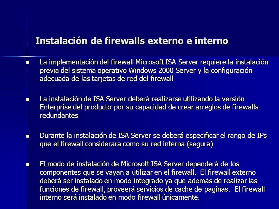 Instalación de firewalls externo e interno