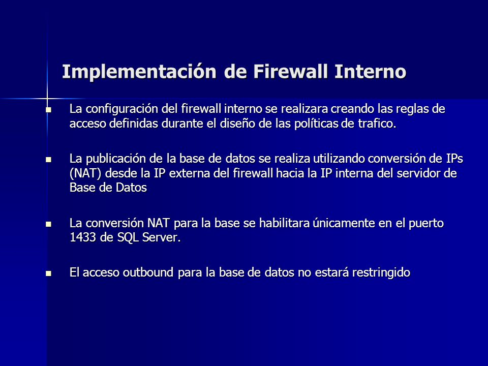 Implementación de Firewall Interno