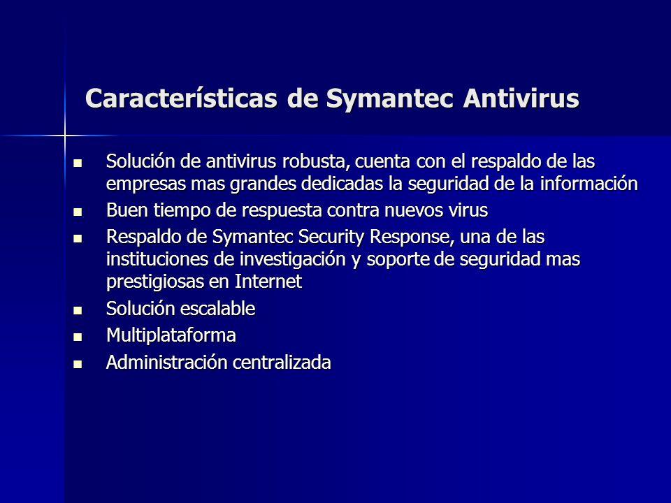 Características de Symantec Antivirus