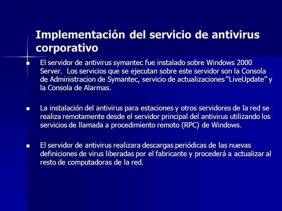 Implementación del servicio de antivirus corporativo