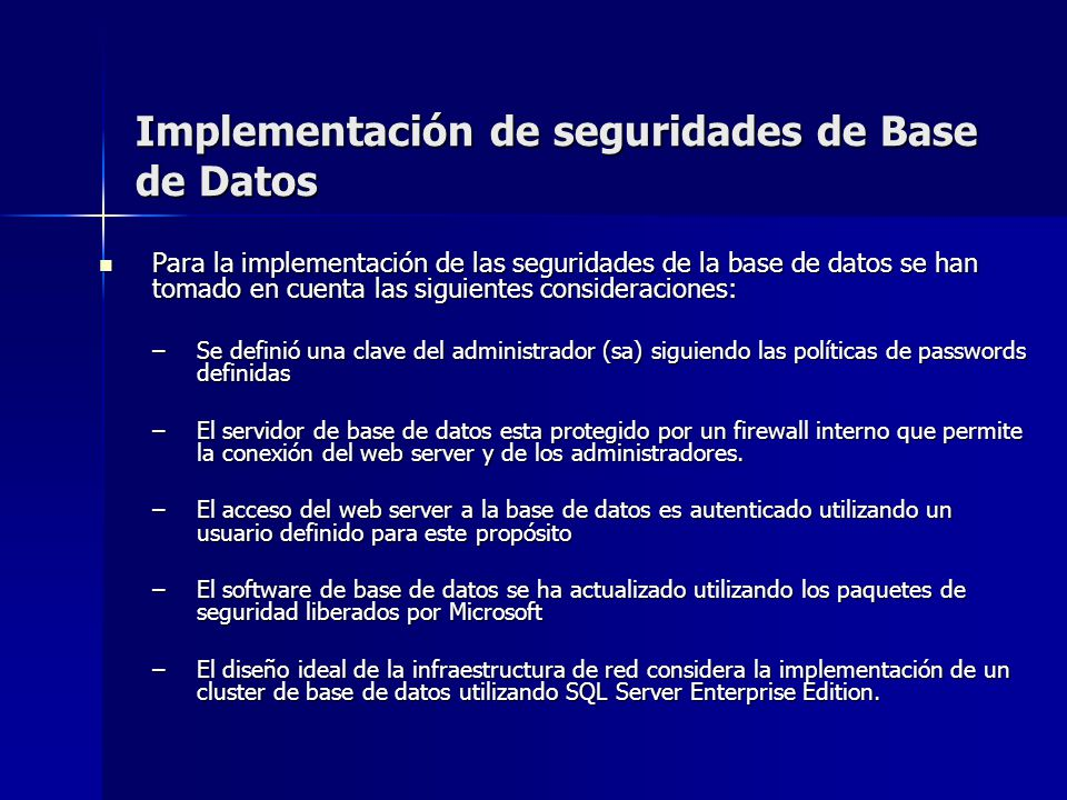 Implementación de seguridades de Base de Datos
